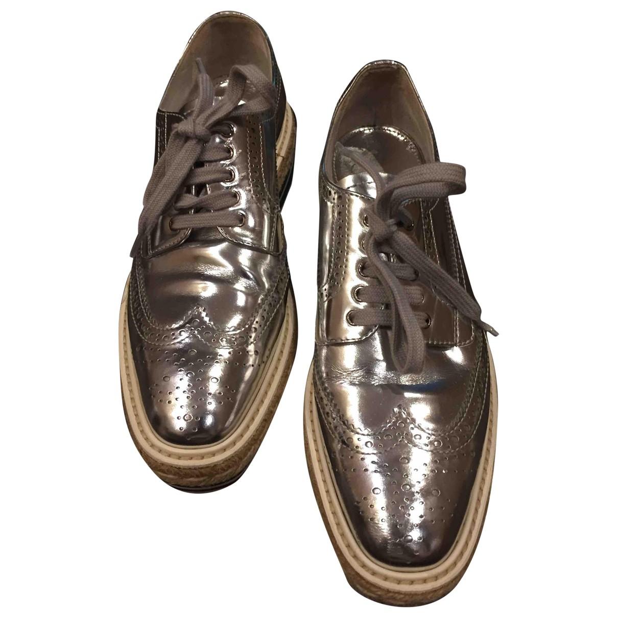 Prada \N Silver Leather Trainers for Women 37.5 EU