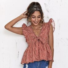 Knot Front Ruffle Trim Ditsy Floral Peplum Top