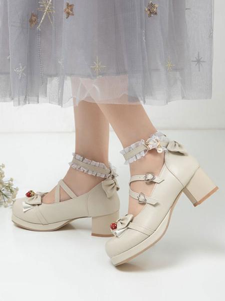 Milanoo Sweet Lolita Footwear Bows Strawberry Chunky Heel Lolita Shoes