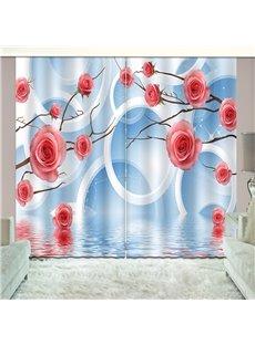 3D Printed Elegant Blue Shading Cloth Custom Curtain for Living Room