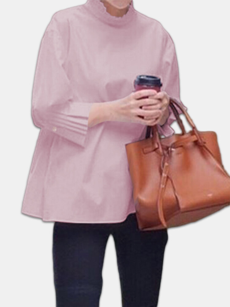 Ruffle Flared Sleeve Solid Color Plus Size Shirt