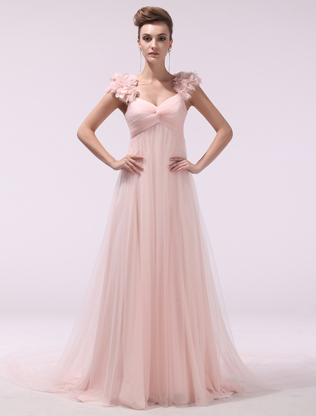 Milanoo Peach Prom Dresses 2020 Long Chiffon 3D Flowers Evening Dress Empire Twisted Floor Length Party Dress With Train Wedding Guest Dress  wedding