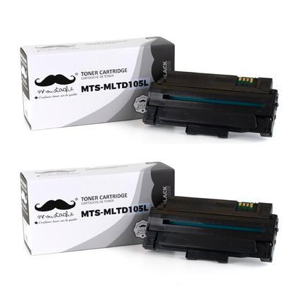 Compatible Samsung MLT-D105L Black Toner Cartridge - Moustache - 2/Pack
