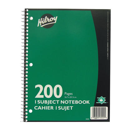 Hilroy@ 200 Pages 1-Subject Notebook, 3-Hole Punched 257238