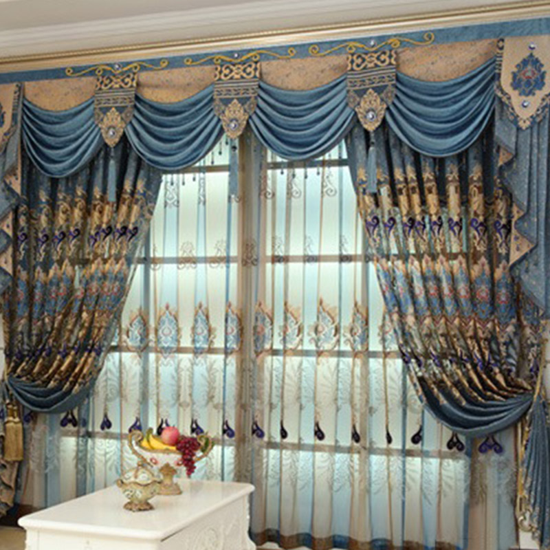European Luxury Embroidered Custom 2 Panels Breathable Sheer Curtains for Living Room No Pilling No Fading No off-lining