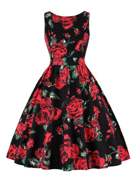 Milanoo Vintage Dress 1950s Split Color Woman Sleeveless Jewel Neck Swing Dress
