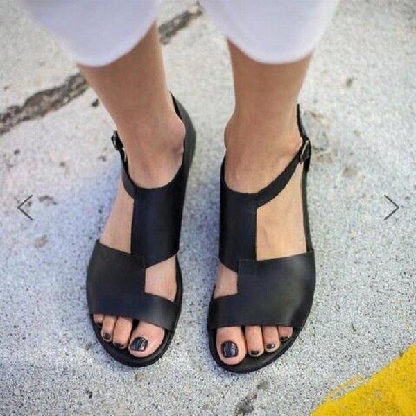 Big Size Women Breathable Hollow Peep Toe Buckle Black Flat Sandals
