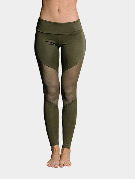 Yoins Army Green Fashion Mesh Patchwork Bodycon Sport Leggings