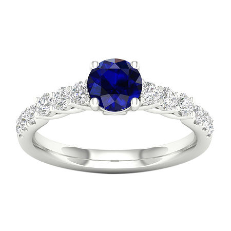 Modern Bride Gemstone Womens 1/2 CT. T.W. Genuine Blue Sapphire 10K White Gold Round Engagement Ring, 6 1/2 , No Color Family