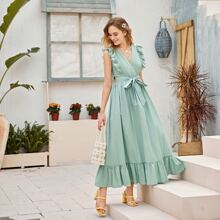 Eyelet Embroidered Butterfly Sleeve Ruffle Hem Belted Dress