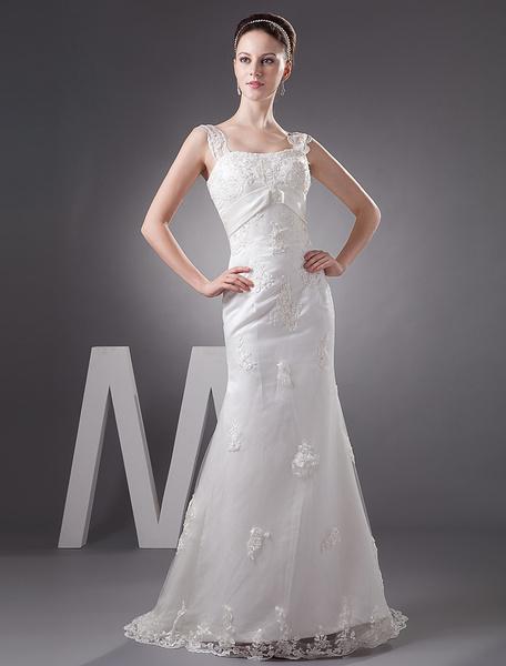 Milanoo Lace Mermaid Sweetheart Applique Beading Satin Wedding Dress