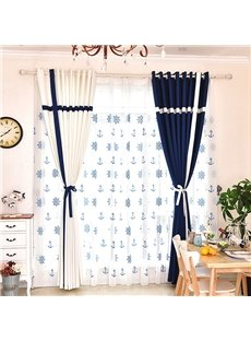 Modern Mediterranean Style Decorative Custom Sheer Curtains for Living Room Bedroom