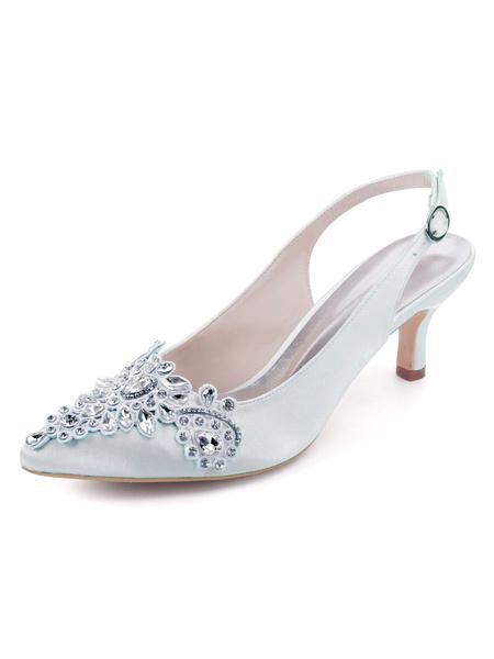 Milanoo Wedding Shoes Satin Deep Blue Pointed Toe Rhinestones Kitten Heel Shoes