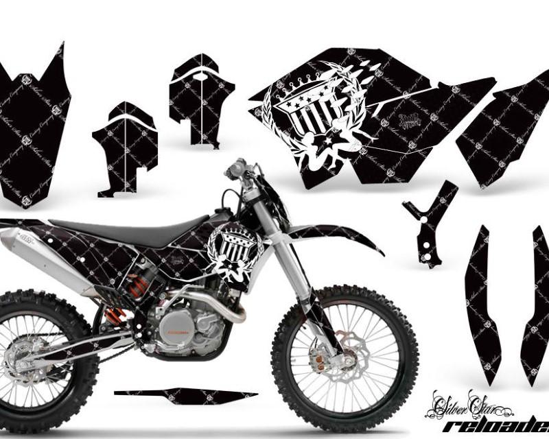 AMR Racing Dirt Bike Graphics Kit Decal Wrap For KTM SX/XCR-W/EXC/XC/XC-W/XCF-W 2007-2011áRELOADED WHITE BLACK