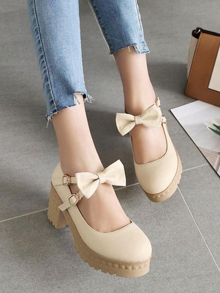 Milanoo Sweet Lolita Footwear Bows Platform Chunky Heel Round Toe Lolita Pumps