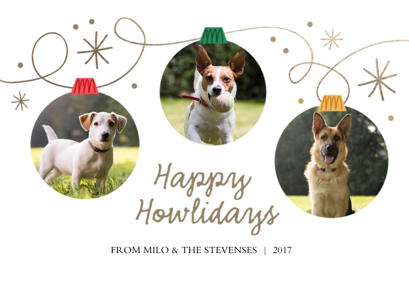 Pets 5x7 Cards, Premium Cardstock 120lb with Rounded Corners, Card & Stationery -Happy Howlidays Ornament