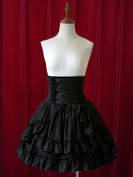 Milanoo Pure Black High Waist Lolita Short Skirt with Layered Ruffles