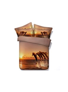 Jumping Dolphins in the Sunset Printed Cotton 3D 4-Piece Bedding Sets/Duvet Covers