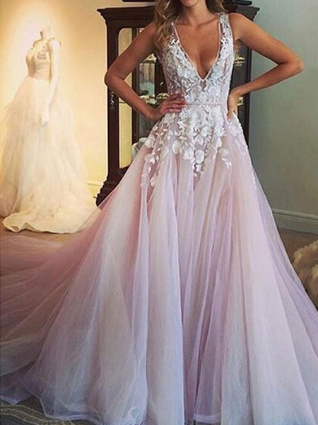 Milanoo wedding dress 2020 deep v neck sleeveless lace flora floor length tulle bridal gowns