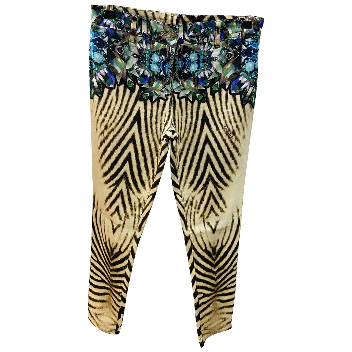 Roberto Cavalli \N Multicolour Cotton Trousers for Women 38 IT