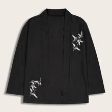 Guys Crown Embroidery Open Front Kimono