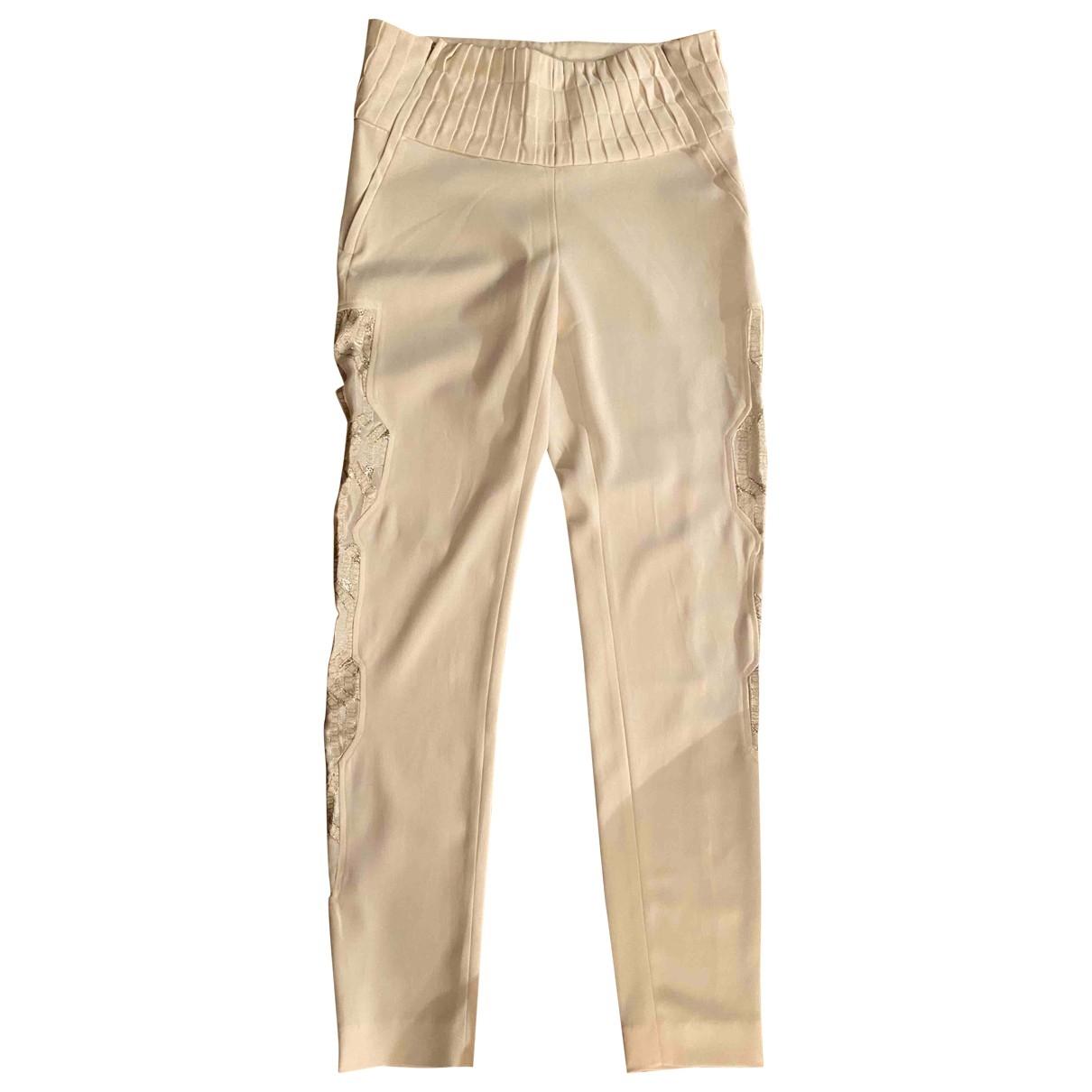 Iro \N White Silk Trousers for Women 36 FR