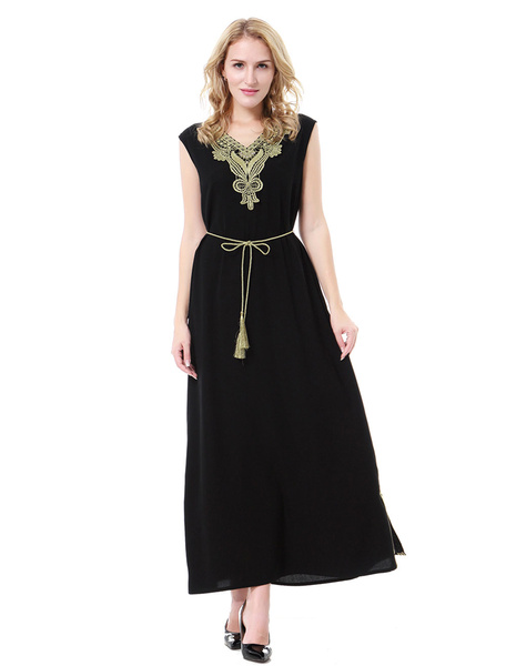 Milanoo Muslim Maxi Dress V Neck Sleeveless Applique Two Tone Abaya Dress