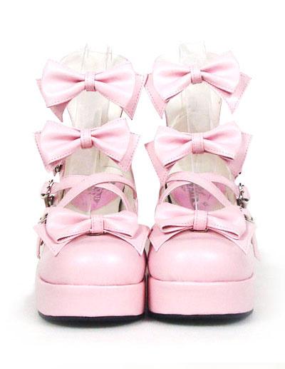 Milanoo Sweet Chunky Heels Lolita Shoes Platform Bow Decor Round Toe