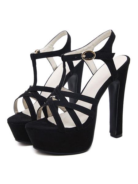 Milanoo Platform High Heel Sandals Womens T-strap Criss Cross Open Toe Slingback Chunky Heel Sandals