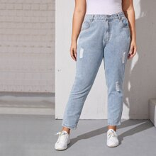 Plus Ripped Washed Mom Jeans