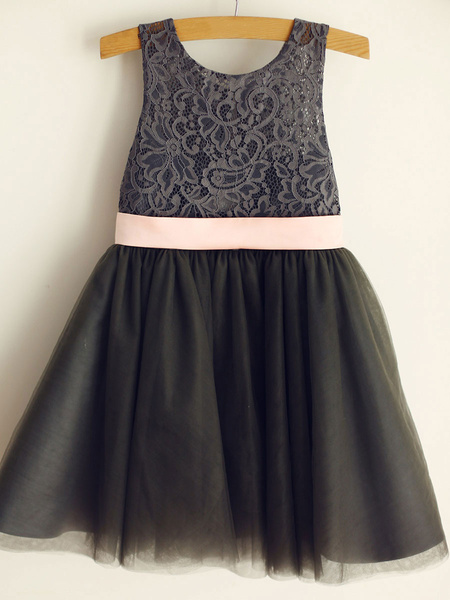 Milanoo Gray Lace Tulle Wedding Flower Girl Dress With Pink Belt
