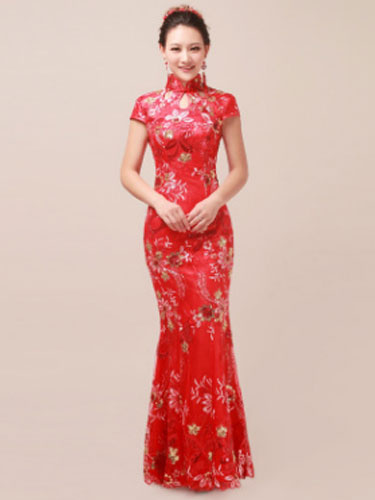 Milanoo Traditional Chinese Costume Cheongsam Red Fancy Dress For Women