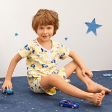 Toddler Boys Allover Cartoon Duck PJ Set