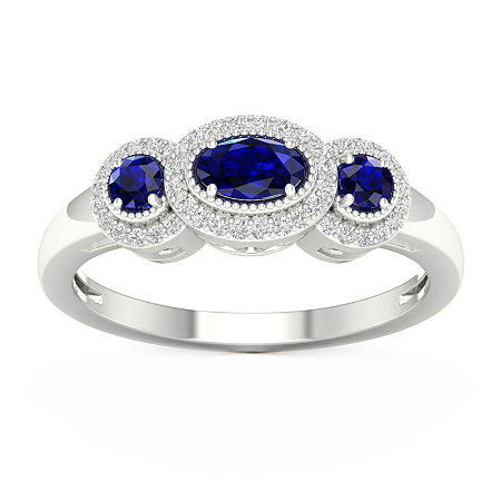 Womens 1/8 CT. T.W. Genuine Blue Sapphire 10K Gold Cocktail Ring, 6 , No Color Family