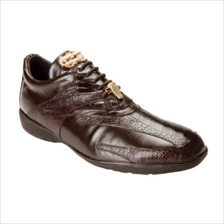 Belvedere Genuine Ostrich and Calfskin / Mens Bene Sneakers in Brown