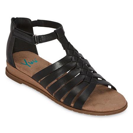 Yuu Falisha Womens Gladiator Sandals, 8 Medium, Black