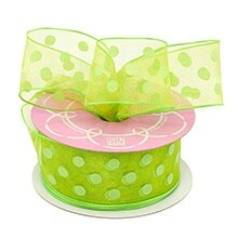 Green Sheer Green Polka Dot Wrd Ribbon - 1-1/2 X 25yd - Greeting Cards by Paper Mart