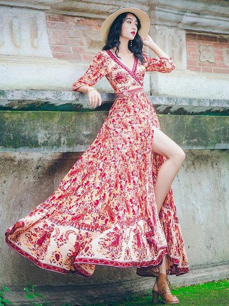 Milanoo Floral Boho Dress V Neck Summer Dress Knotted Split Printed Maxi Dress