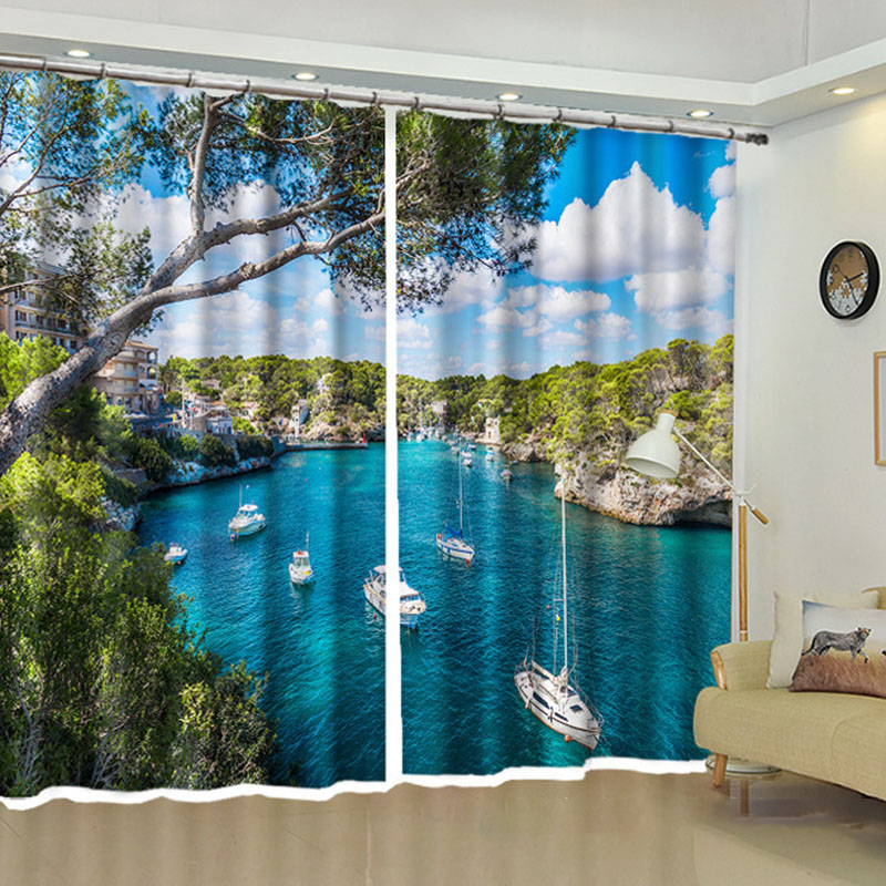 Blackout 3D Window Curtains 220g/㎡ Shading Cloth 80% Shading Rate and UV Rays No Pilling No Fading No off-lining with Free Curtain Hooks