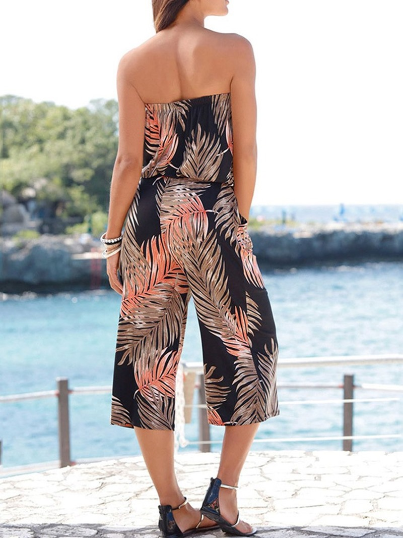 Ericdress Plant Travel Look Print Casual Loose Mid Waist Jumpsuit