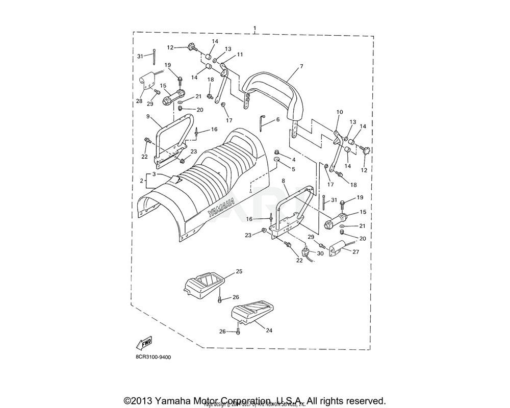 Yamaha OEM 8CW-2479L-00-00 BRACKET, SEAT