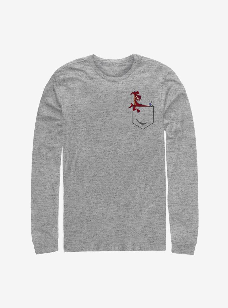 Disney Mulan Mushu And Cri-Kee Faux Pocket Long-Sleeve T-Shirt
