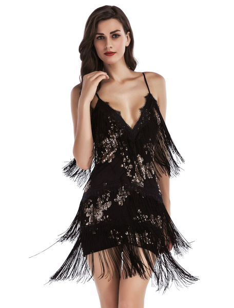 Milanoo 1920s Fashion Style Flapper Dress For Women's Short Black Dress Strappy Sleeveless Backless V neck Sequined Mini Dress With Tassels 20s P