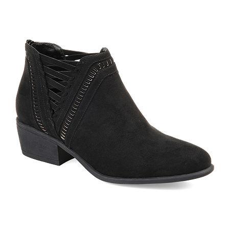 Journee Collection Womens Jeni Booties Stacked Heel Zip, 6 1/2 Medium, Black