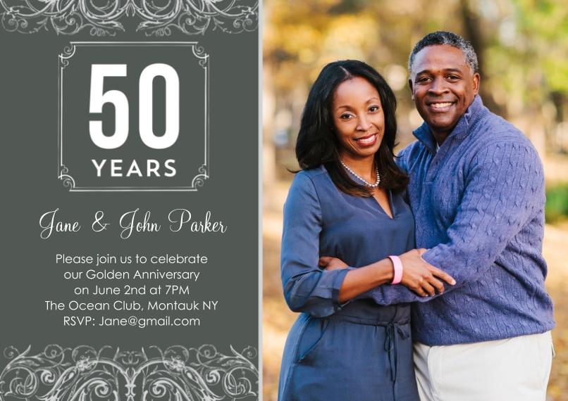 Anniversary Invitations 5x7 Cards, Premium Cardstock 120lb, Card & Stationery -Anniversary 50 Years Swirls Photo