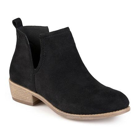 Journee Collection Womens Rimi Booties Block Heel Wide Width, 6 1/2 Medium, Black