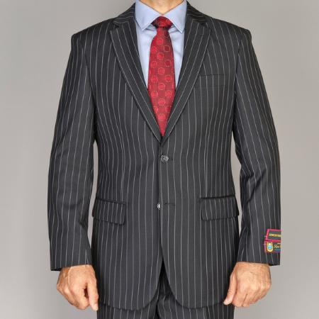 Mens Side Vented Jacket and Flat Front Pants Black Pinstripe Suit