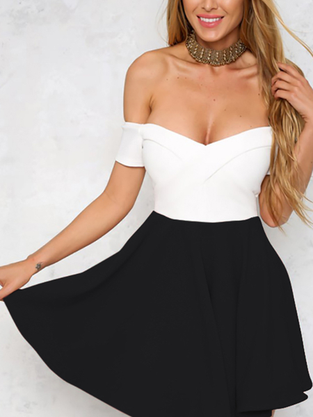 Yoins Contrast Color Off Shoulder Mini Dress with Zip Back Design