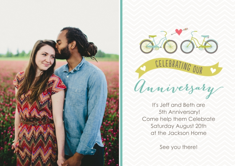 Anniversary Flat Matte Photo Paper Cards with Envelopes, 5x7, Card & Stationery -Tandem Love