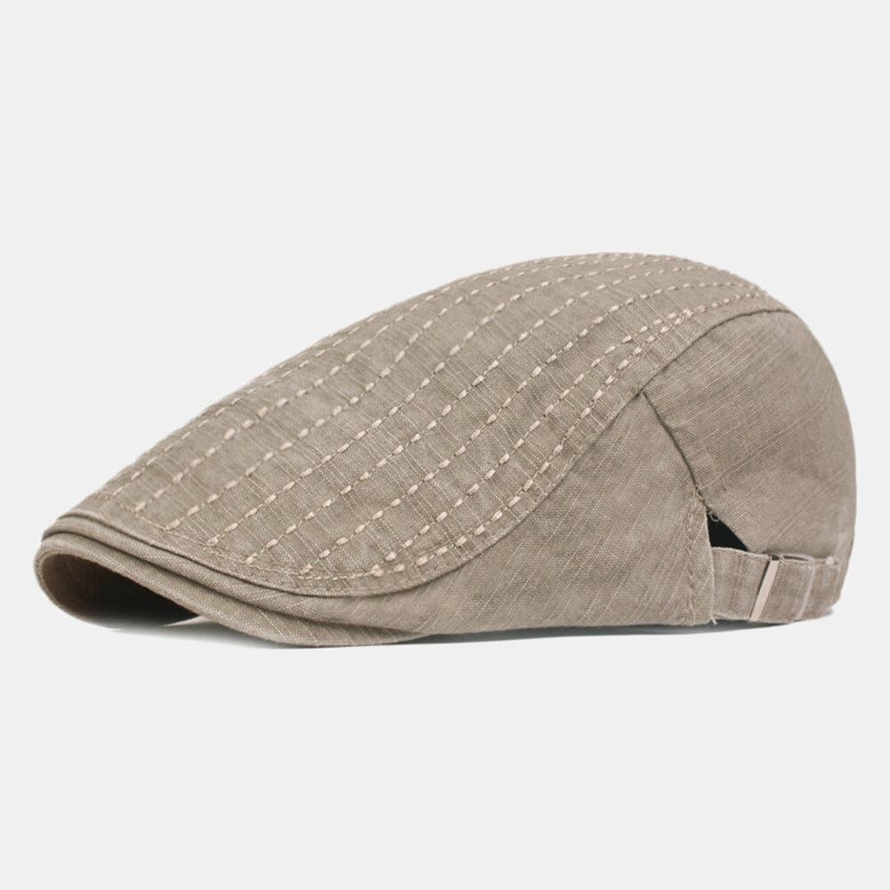 Mens Washed Cotton Patchwork Colors Beret Caps Outdoor Sport Adjustable Visor Forward Hats